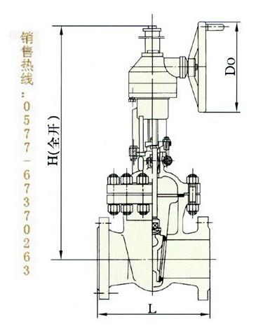 三,z540h/y铸钢伞齿轮驱动闸阀结构图片