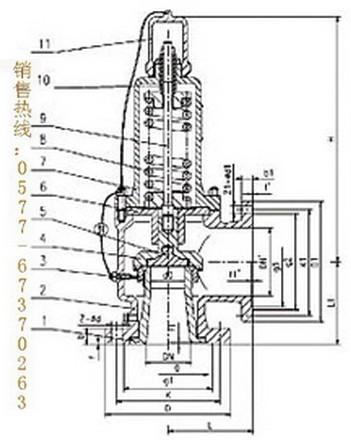 a42y-160弹簧全启封闭式高压安全阀结构图片